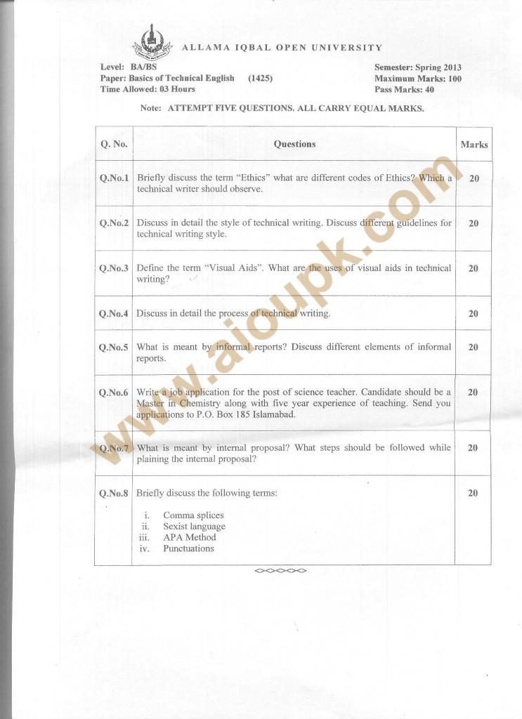Code 1425 AIOU Old Paper Basics of Technical English Writing English -III BA Spring 2013