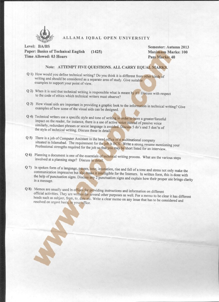 Code 1425 Basics of Technical English Writing AIOU Old Papers 2014