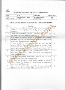Code no 1426 AIOU Old Paper English Literature BA BS Spring 2013