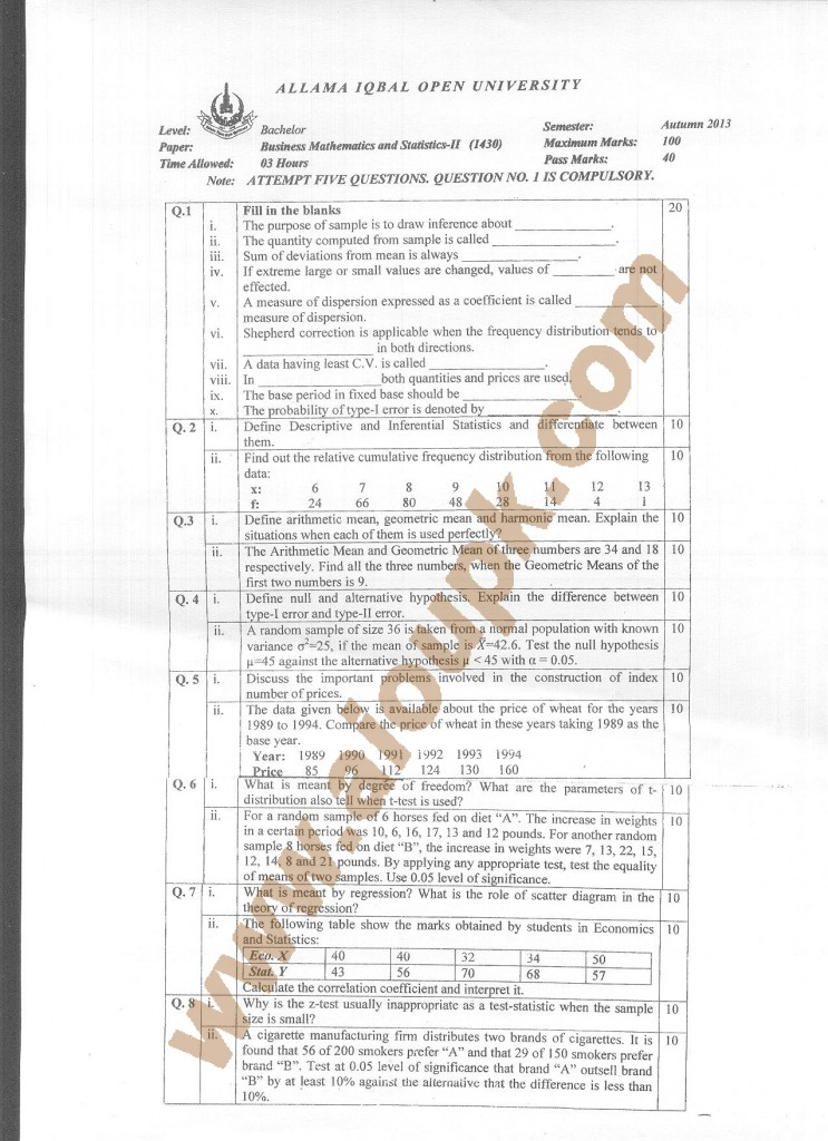 AIOU Old Paper code 1430 Business Mathematics and Statistics-II 2014