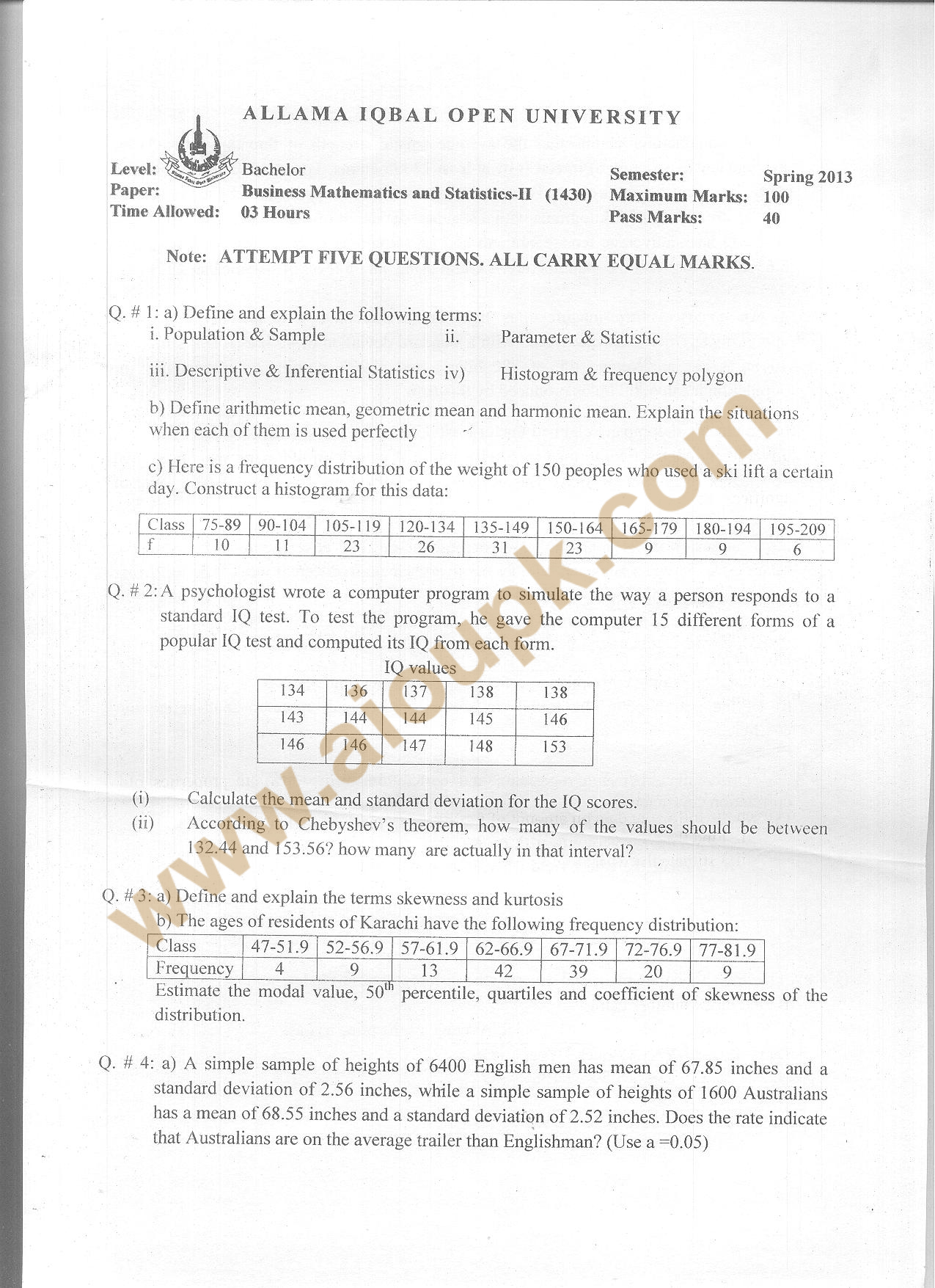last year exam paper and answeron business statistics Record all answers on your answer sheet answers recorded in your test book will not be counted • do not wait until the last few minutes of a testing session to record answers on your answer sheet what your scores mean the number of questions you answered correctly on the whole test (total correct score) is converted.