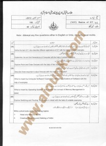 AIOU Old Paper Code 1431 Basics of ICT