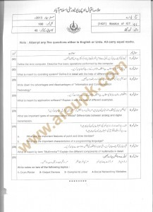 Code 1431 - new aiou papers Spring 2013 BA Basics of ICT
