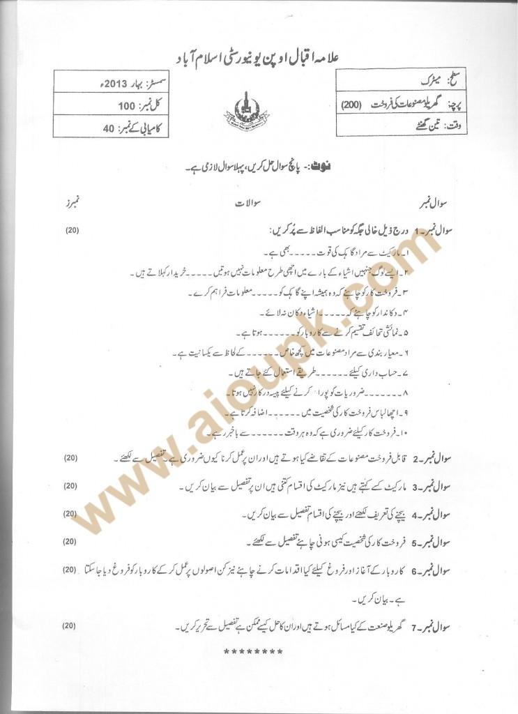 Code No 200 AIOU Old Paper