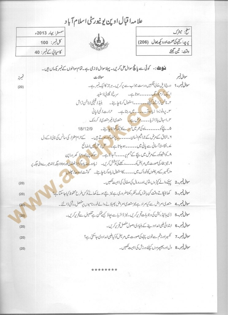 Code 206 AIOU Old Paper Family Health and Care