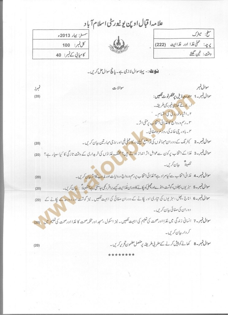 Code 222 AIOU Old Paper Applied Food and Nutrition