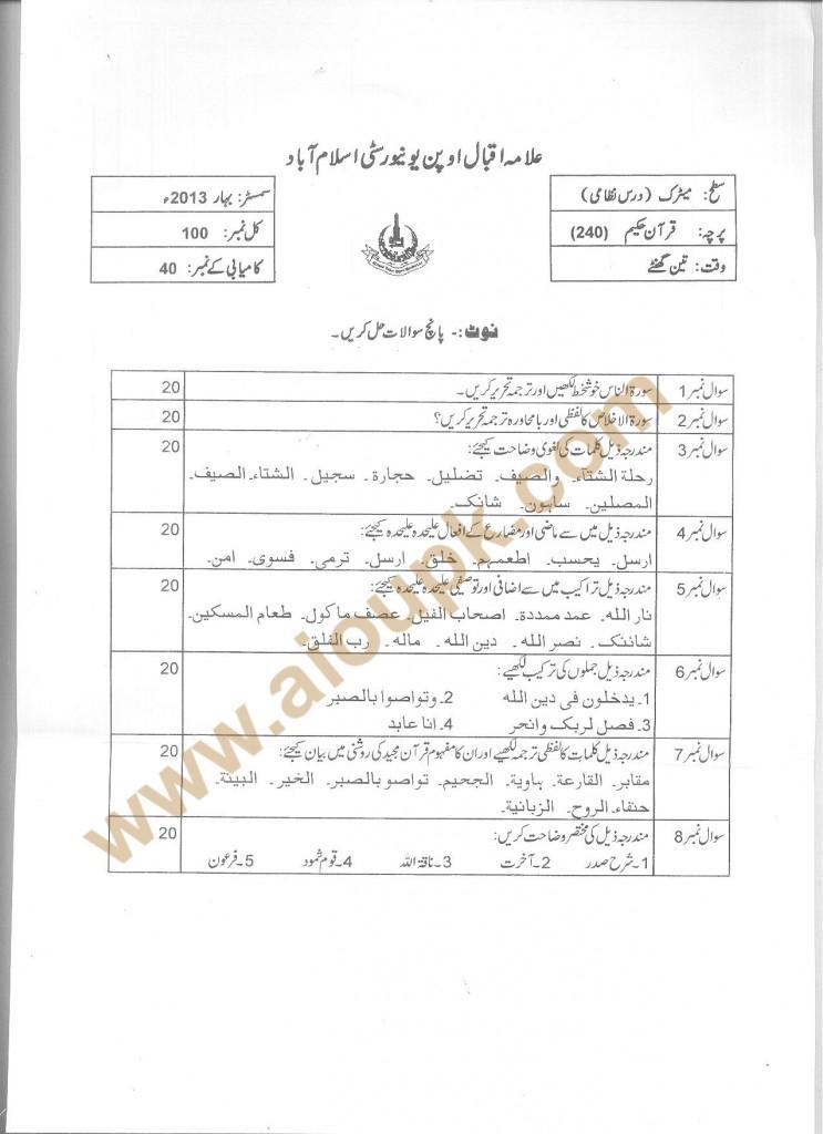 Code 240 AIOU Old Paper Quran Hakim Matric Spring 2013