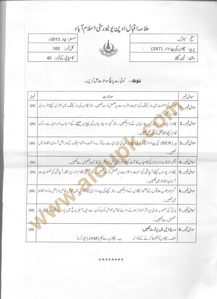 Code 257 AIOU Old Paper Fruit Production  Spring 2013
