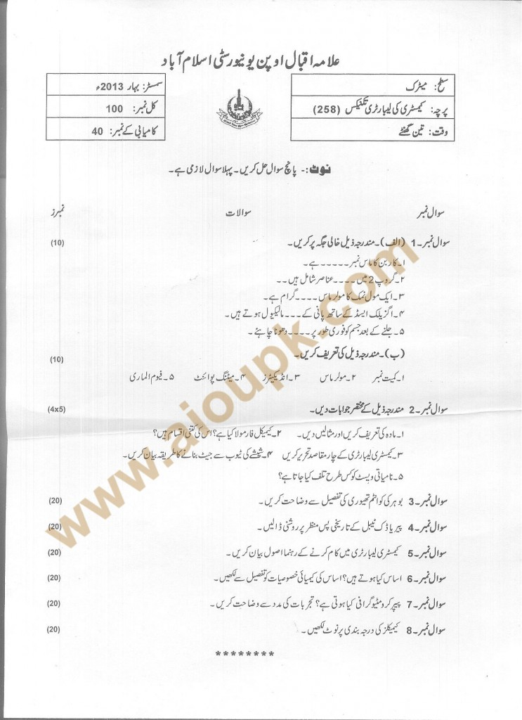 Code 258 AIOU Old Papers