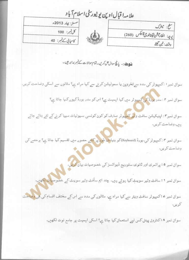 Code 260  IT Basics AIOU Old Papers