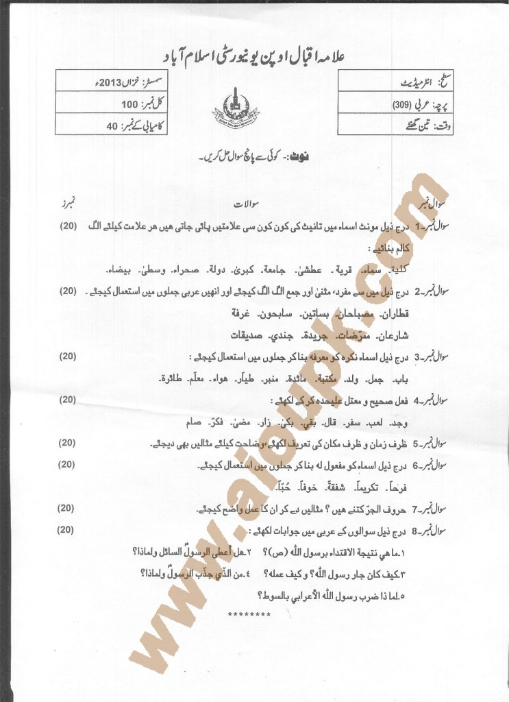 Arabic Code 309 AIOU Old Paper 2014