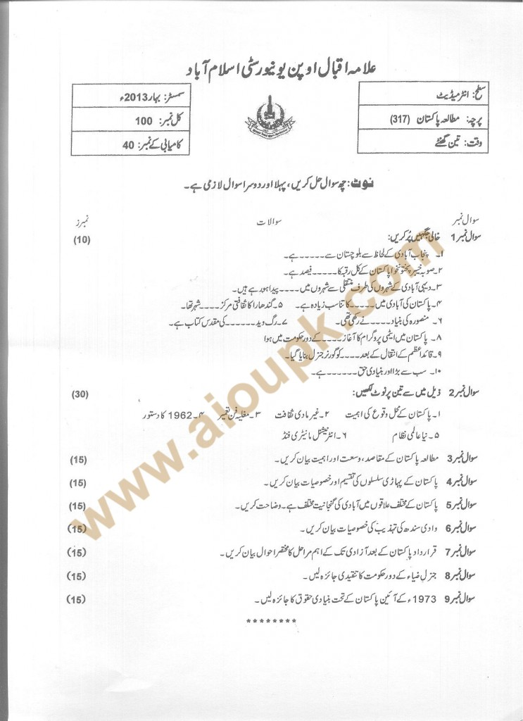 Code 317 AIOU Old Paper Pakistan Studies Compulsory Spring 2013 FA