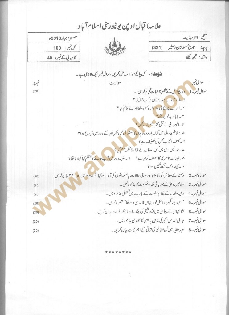 Code 321 AIOU Old Paper Muslim History of Sub Continent FA