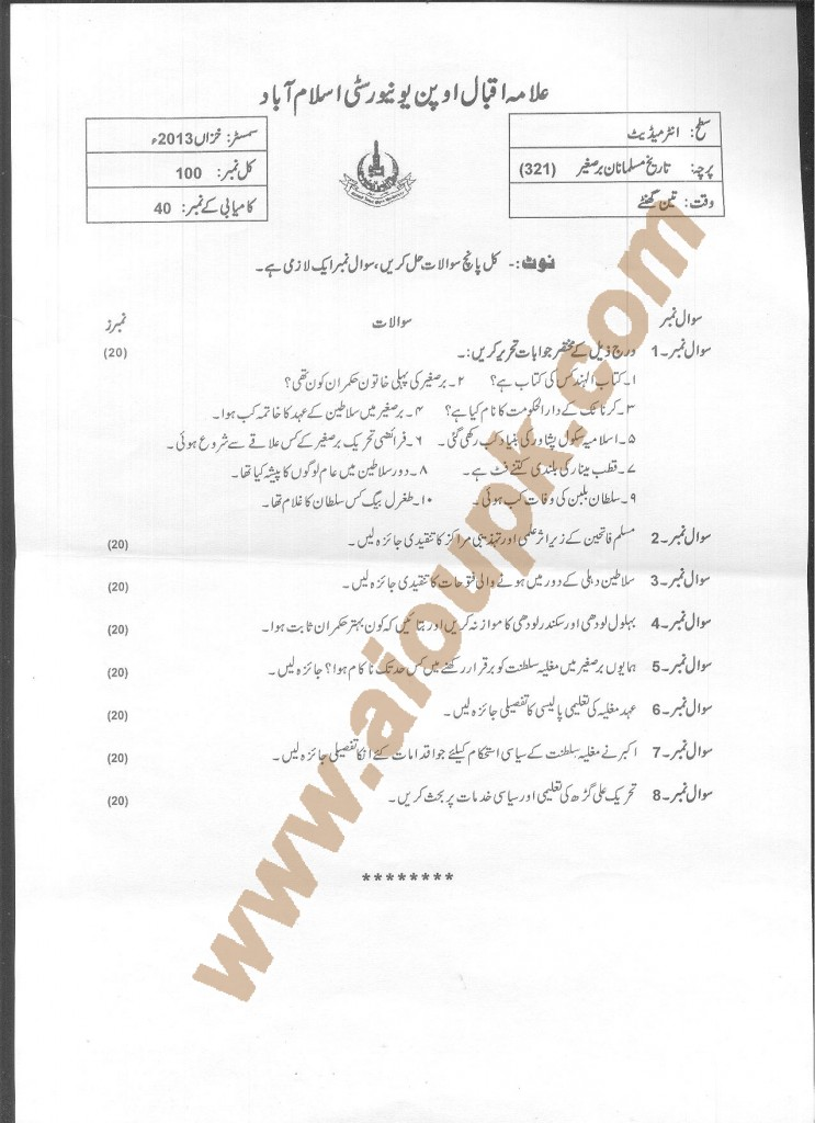 AIOU Old Paper Code 321  Muslim History of Sub Continent 2014