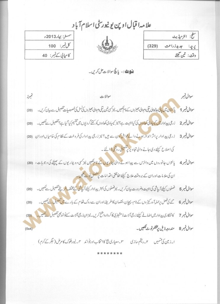 Code No 329 AIOU Old Paper Advanced Agriculture FA Spring 2013
