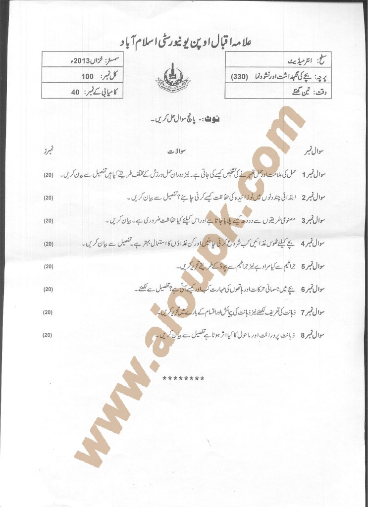 Child Care and Development Code 330 AIOU Old Paper 2015