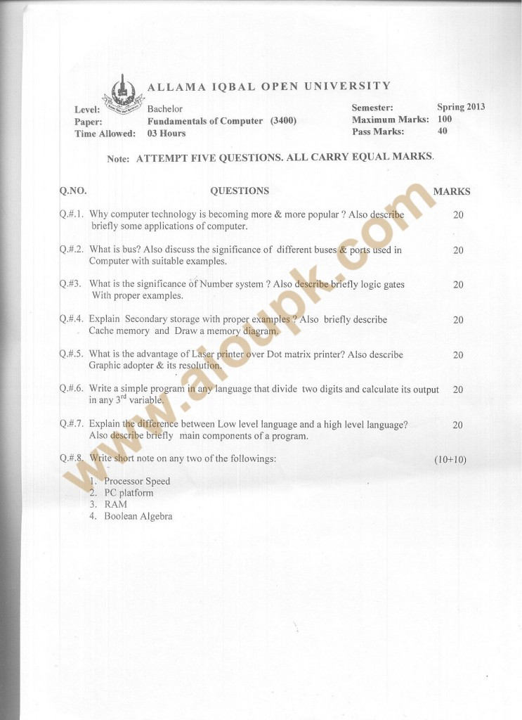 Code 3400 AIOU Old Paper BSCS - Spring 2013