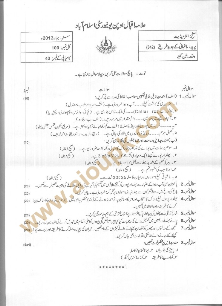 Code No 342 AIOU Old Paper Improved Methods of Fruit Production
