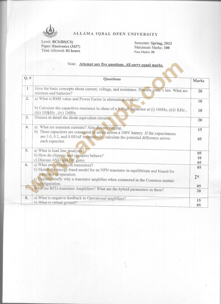 Code No. 3437 AIOU Old Paper BS