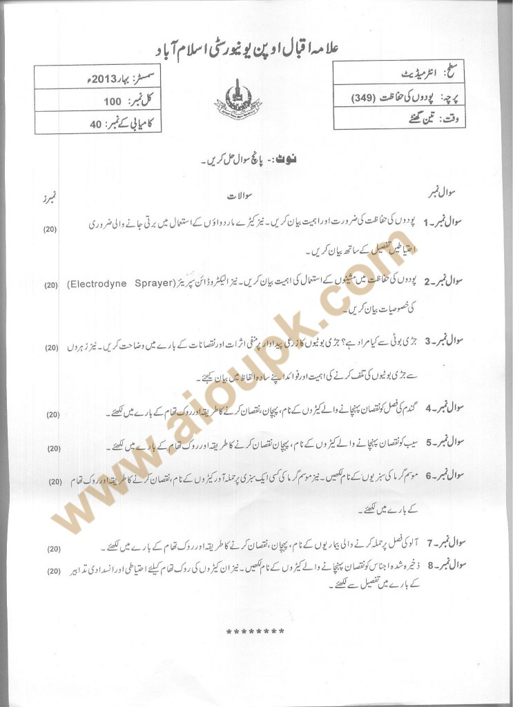 Code 349 AIOU Old Papers  Plant Protection FA Spring 2013