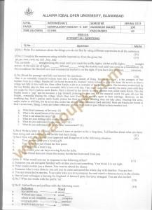 Code No 387 - AIOU Old Paper Compulsory English-II