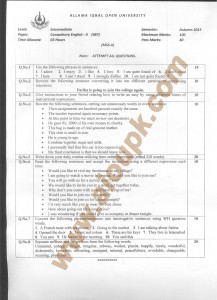 Code 387 AIOU Old paper Compulsory English-II