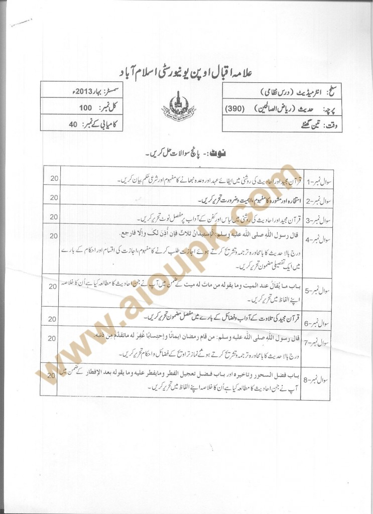Code No 390 AIOU Old Paper Hadith