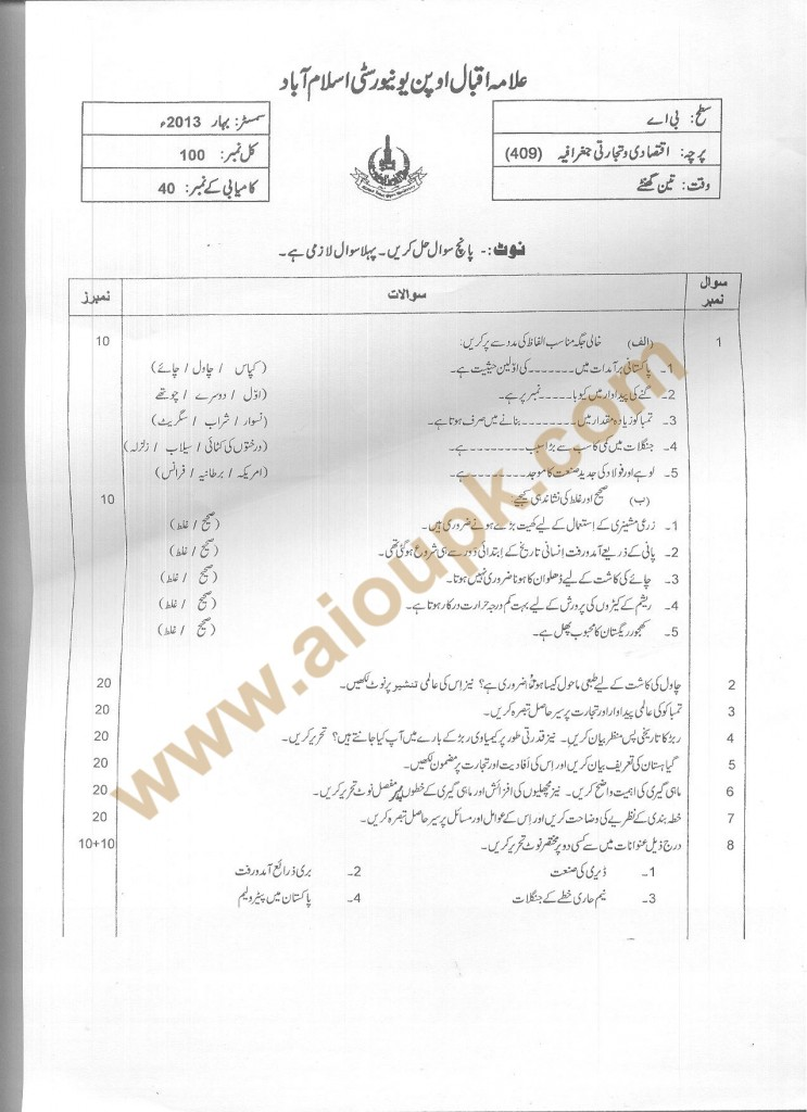 Commercial Geography Code 409 AIOU Old paper BA