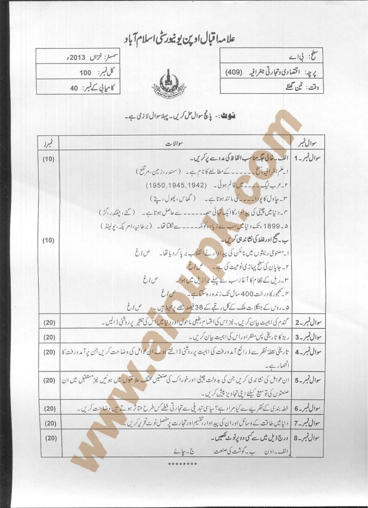AIOU Old Paper code 409 for 2014 Commercial Geography