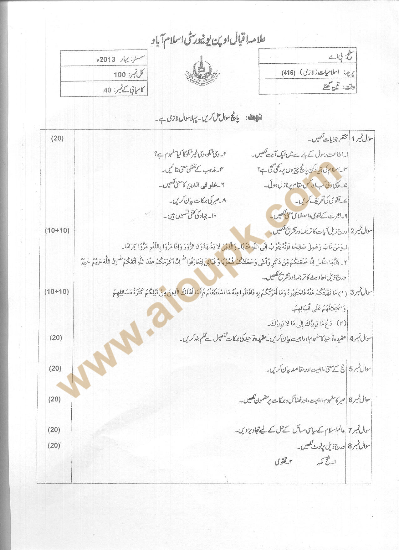 AIOU Old Papers Autumn 2013 -