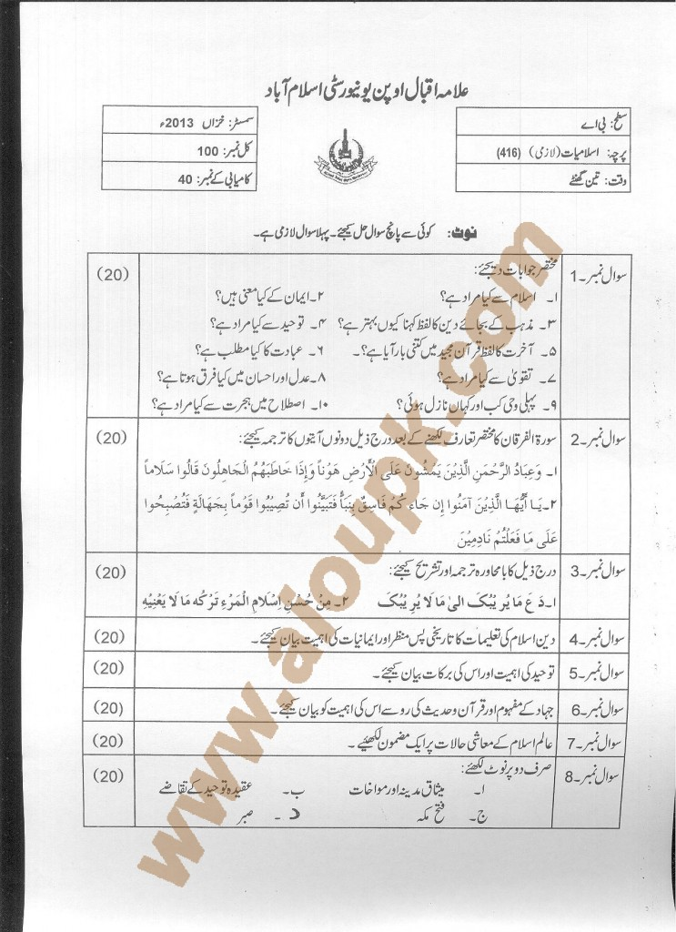 AIOU Old Paper Code 416 Islamic Studies Compulsory 2015