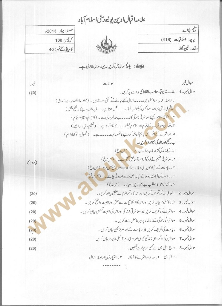 Code 418 Ethics AIOU Old Paper Spring 2013 BA