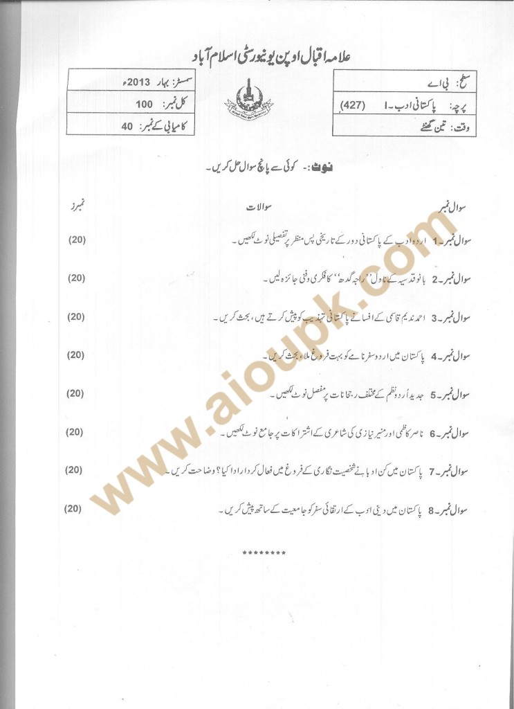 Pakistani Literature-I Code 427 AIOU Old Papers BA