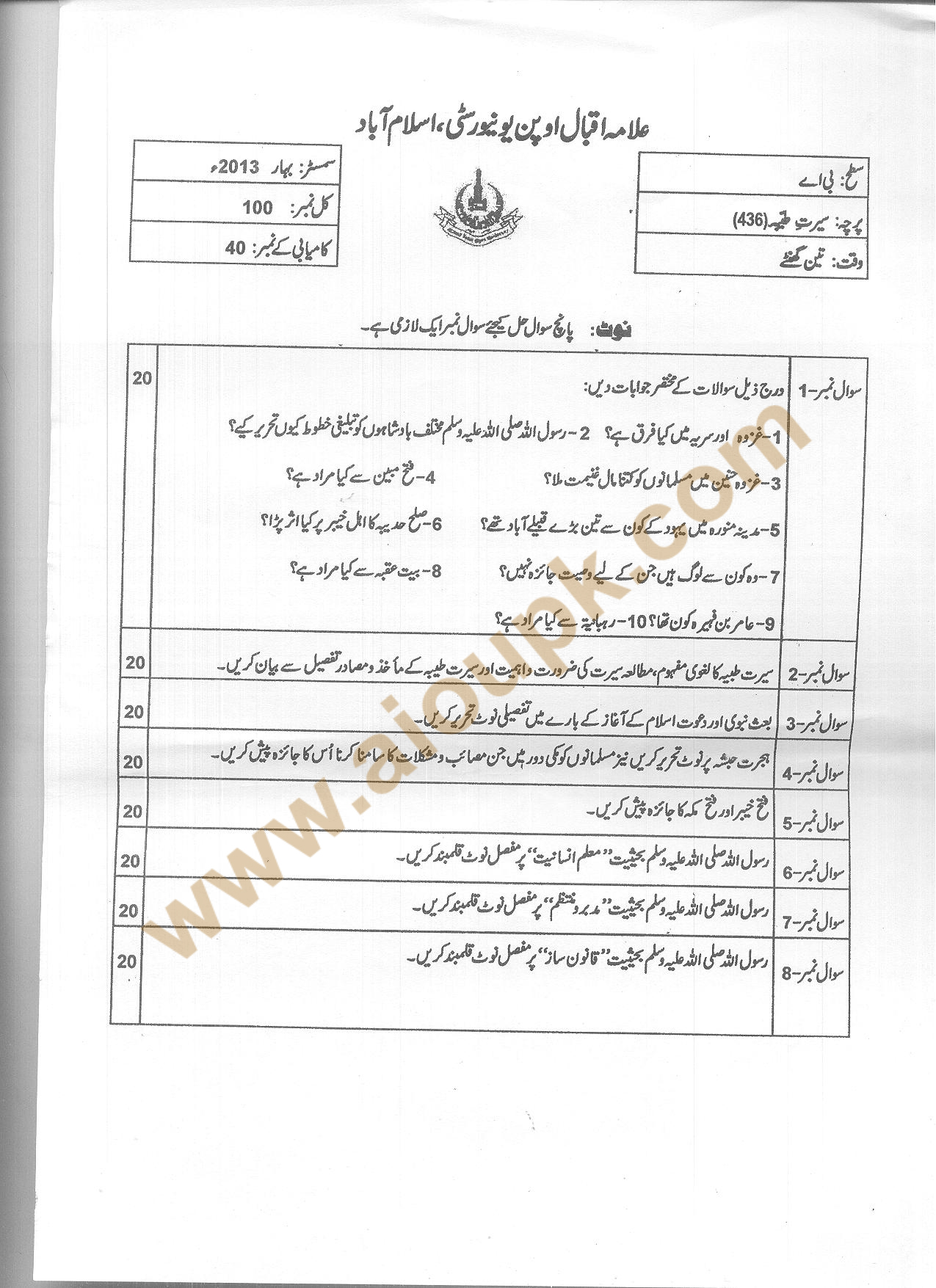 Seerat-e-Tayyaba Code 436 BA – AIOU Old Papers of Spring 2013