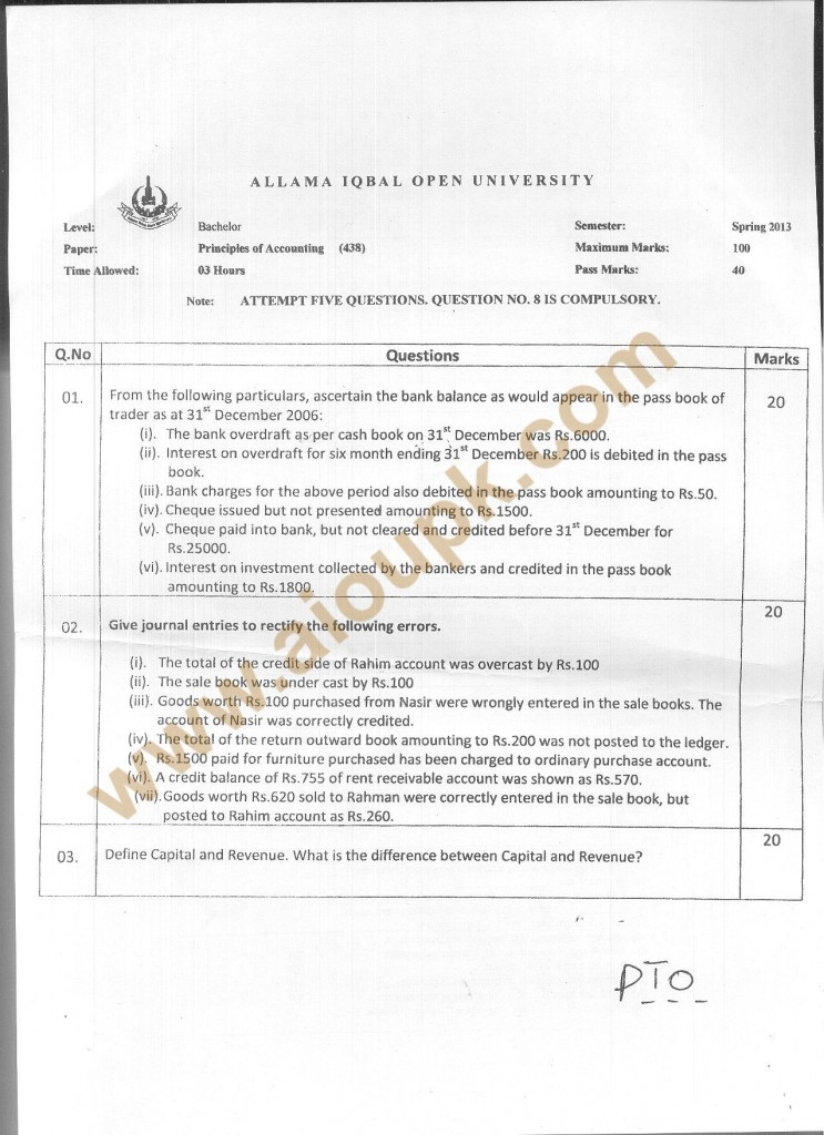 Code 438 -a AIOU Old Paper Principles of Accounting