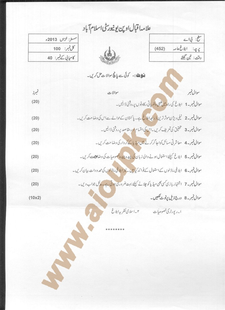 AIOU Old paper code 452 Mass Communication 2014 2015