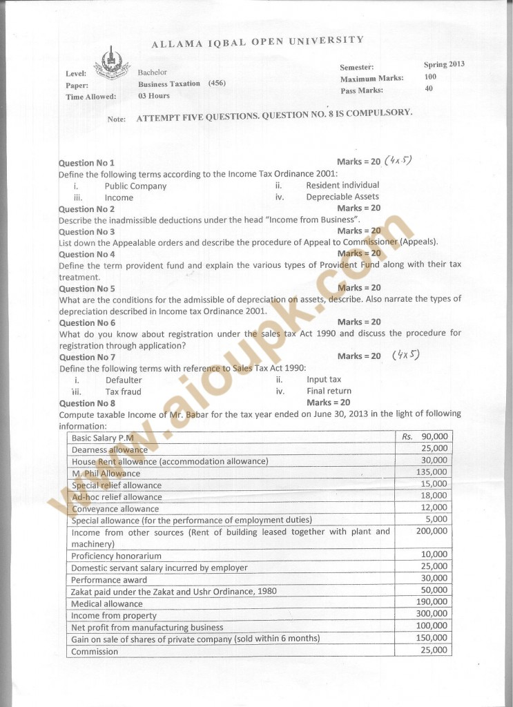 Code 456 AIOU Old Paper Business Taxation BA Spring 2013