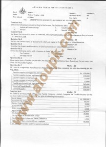AIOU Old Paper code 456 Business Taxation 2014-15