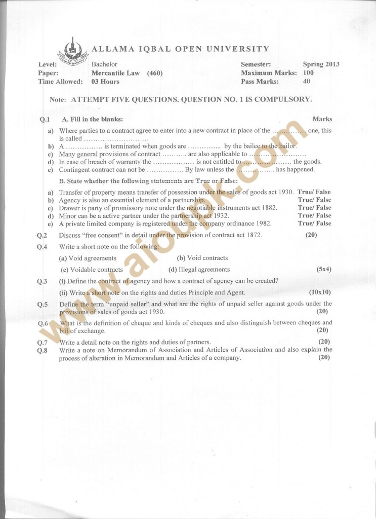 Code 460 AIOU Old Paper Mercantile Law  Spring 2013 BA