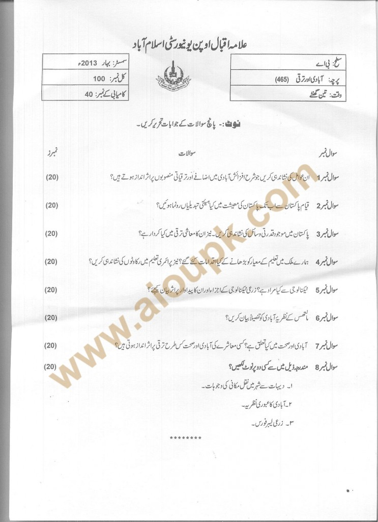 AIOU Old Paper Code 465 Population and Development Spring 2013 BA