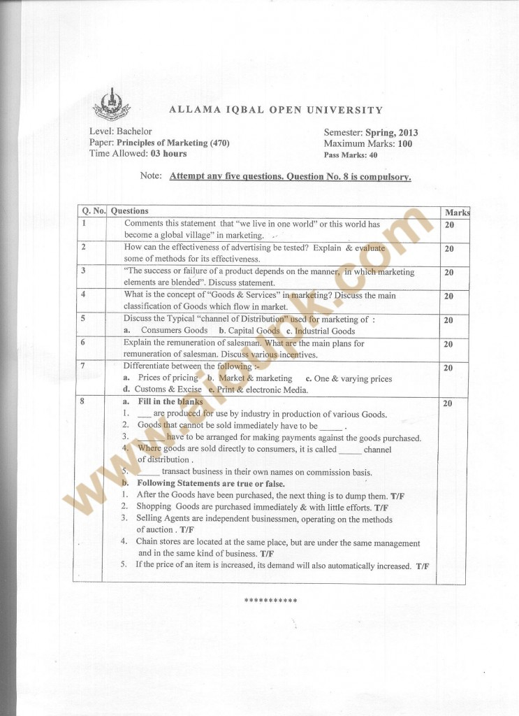 Code 470 AIOU Old Paper Principles of Marketing BA Spring 2013