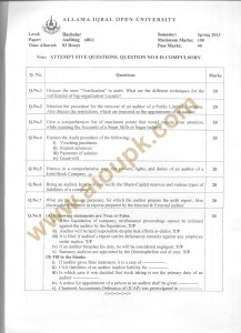 AIOU Old Paper Code 481 Auditing Spring 2013 BA