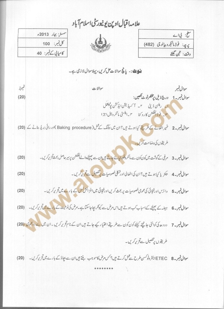 Food Micro Biology  Code 482 AIOU Old Paper Spring 2013