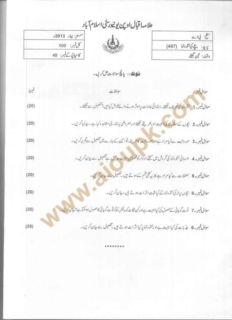 Code 487 AIOU Old Paper Spring 2013 Child Development BA