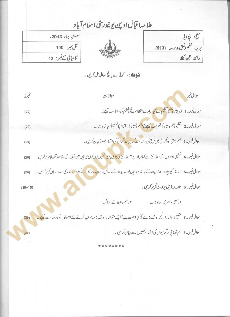code 513 School Organization AIOU Old Paper 2014