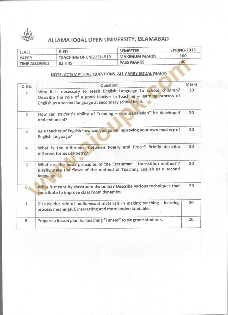 Code 519 AIOU Old Paper Teaching of English BA Spring 2013