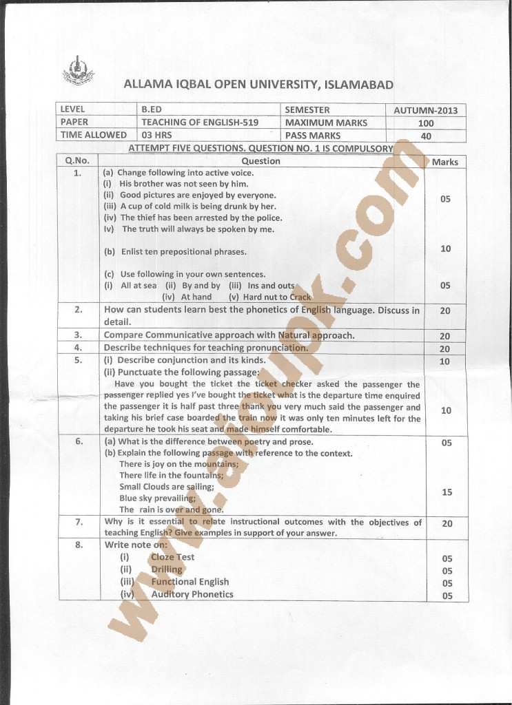 AIOU Old Paper code 519 Teaching of English 2014