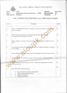 Information Sources and Services AIOU Old Paper Code 5502