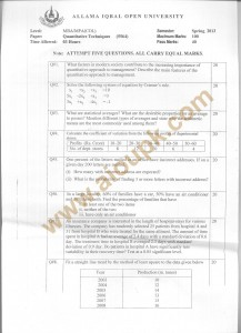 Code 5564 AIOU Old Paper Quantitative Techniques MBA Spring 2013