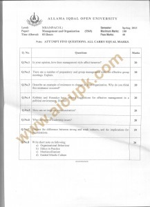 Code 5569 AIOU Old Papers Management and Organization